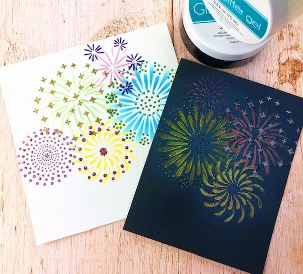 Layered Fireworks 6x6 Laser Cut Stencil Set of 2