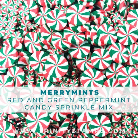 Merry mints: large and small candy sprinkle embellishments