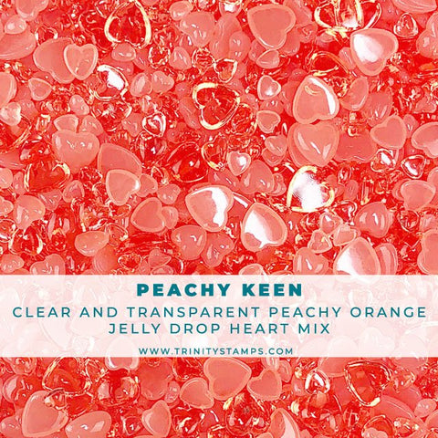 Peachy Keen - Jelly Drop Hearts Embellishment mix