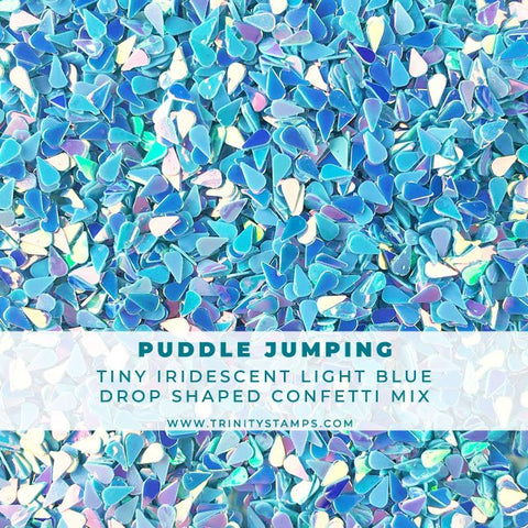 Puddle Jumping: Iridescent Lt. Blue Raindrop Confetti Mix