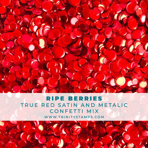 Ripe Berries - Satin and Metallic Red Confetti Mix