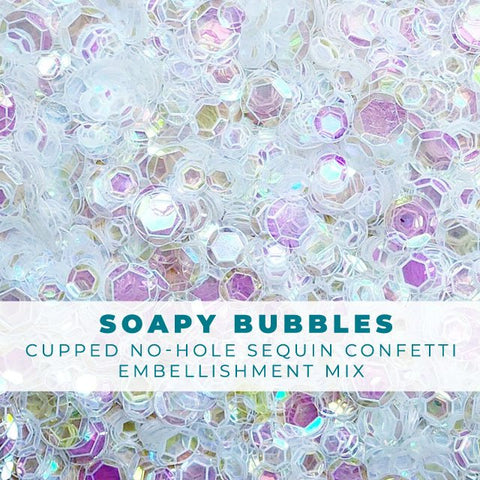 Soapy Bubbles - Clear Iridescent No-Hole Sequin Confetti