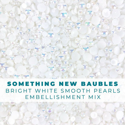 Something New... - Bright White Smooth Pearl Embellishment Mix