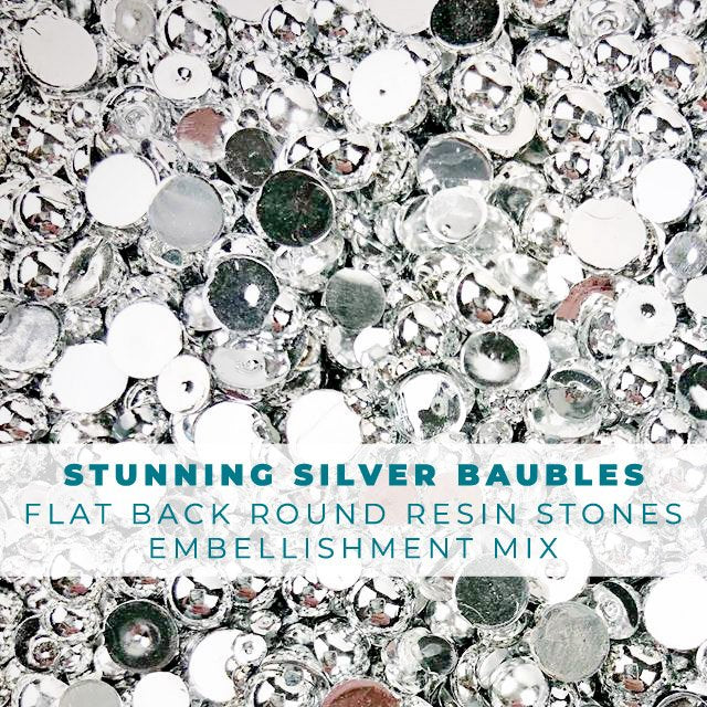 Stunning Silver Baubles - Shiny Silver Pearls Embellishment Mix