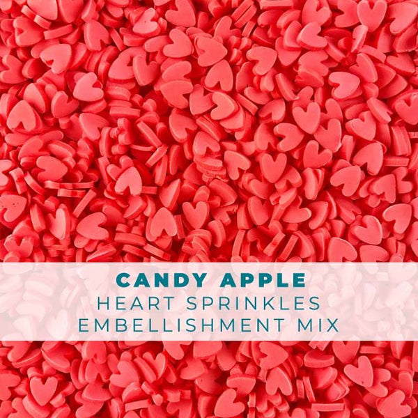 Candy Apple Heart Sprinkle Embellishments