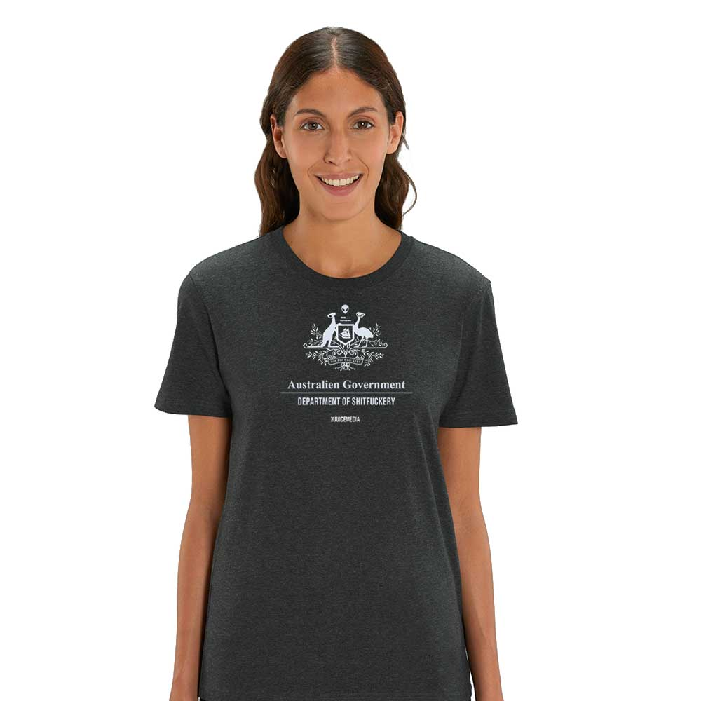 Dept of Sh*tf*uckery, Unisex Tee, dark Heather Grey -  Incl. Delivery (Australia)