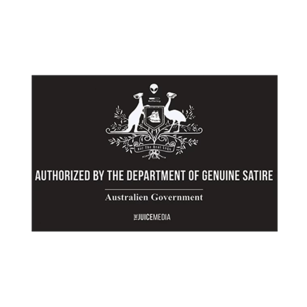 Dept of Genuine Satire, Unisex Tee, Black -  Incl. Delivery (Australia)