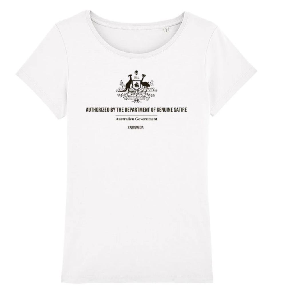 Dept of Genuine Satire, Ladies Tee, White -  Incl. Delivery (Australia)