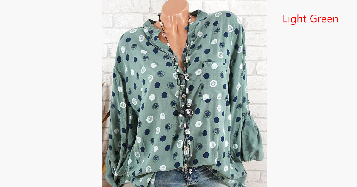 Casual Polka Dot Blouse