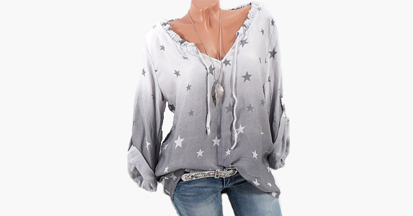 Casual Stars Print Gradient Drawstring Blouse