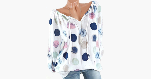Polka Dots V-neck Long Sleeve Blouse