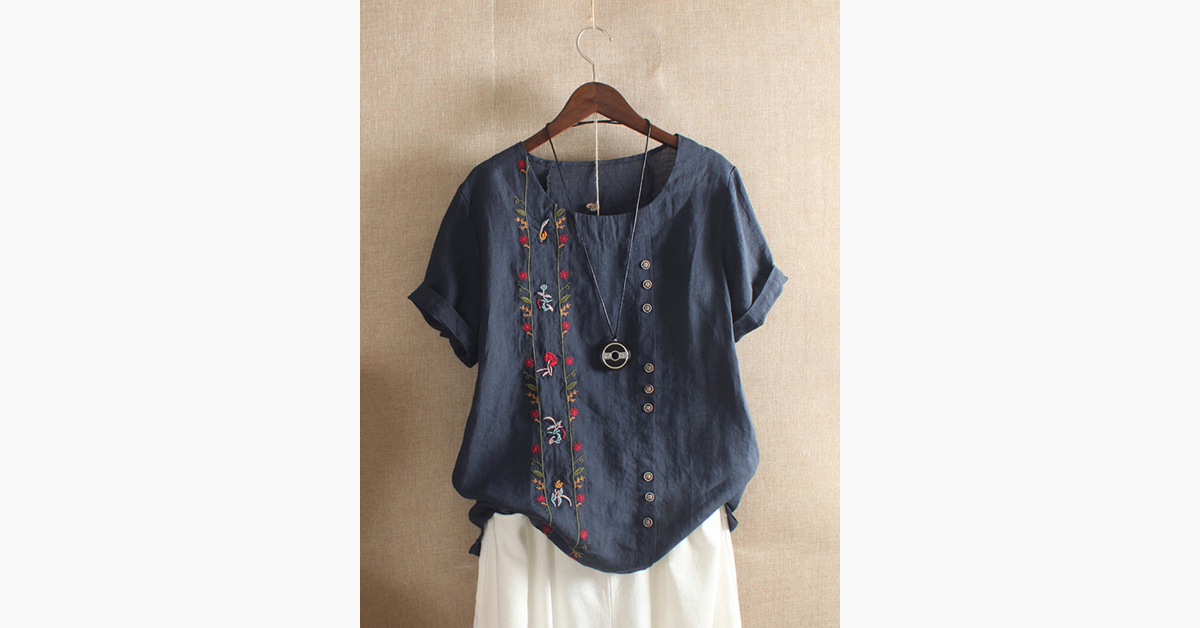 Bohemian Embroidery Floral Blouse