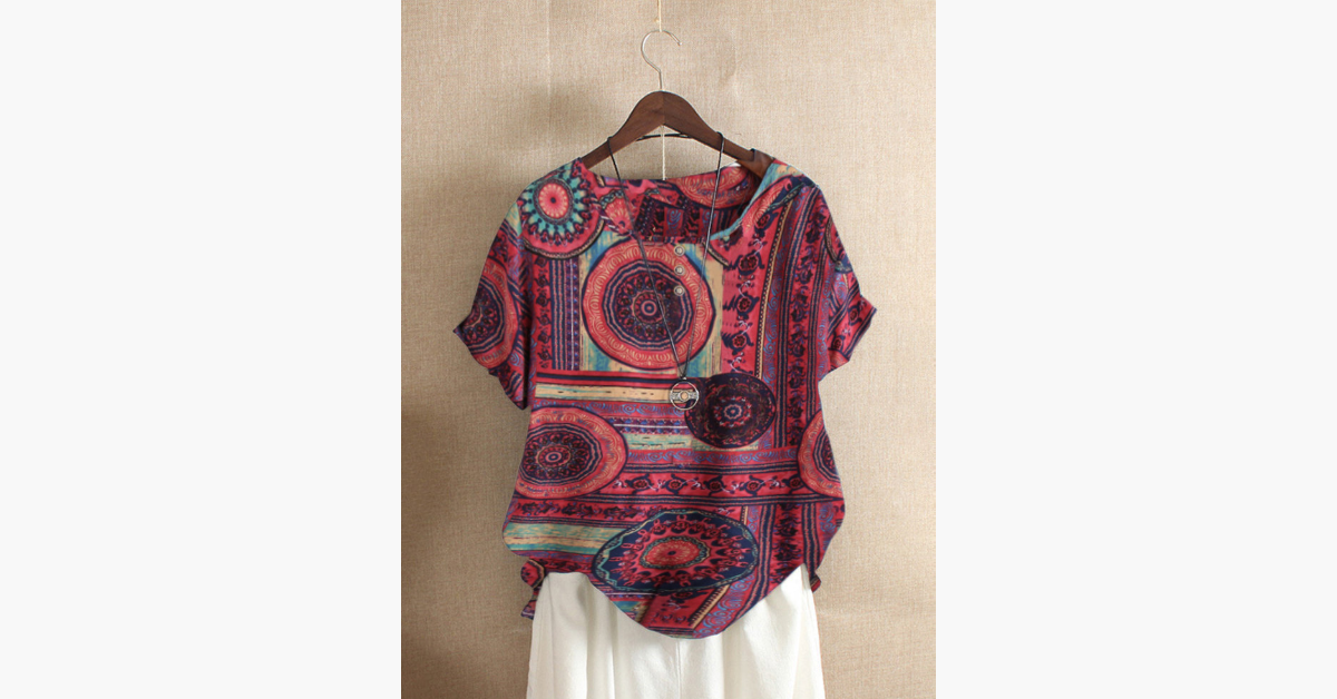 Summer Ethnic Print Blouse