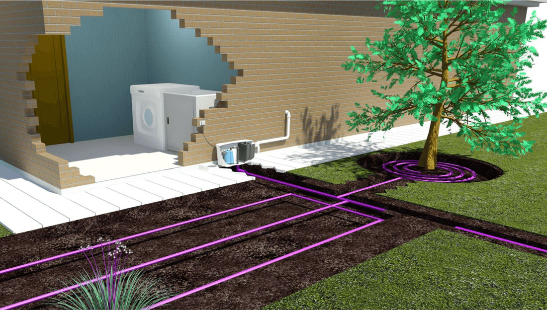 G-Flow grey water system being used with grey water drip irrigation