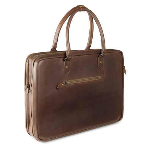 Albert Dots Leather Briefcase Crazy Horse Brown