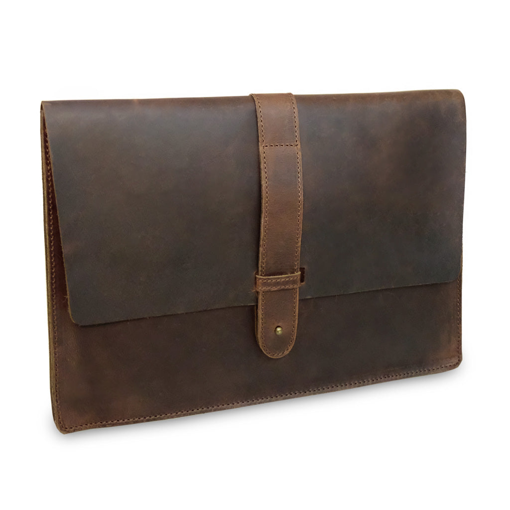 Aspen 12' Leather Laptop Sleeve Crazy Horse Brown