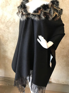 Reversible Wool & Rex Poncho