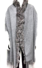 Load image into Gallery viewer, Cashmere/Rabbit Trimmed Stole w/ Fringe