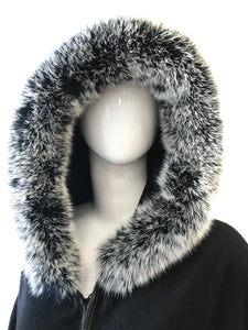 Black Cashmere Scarf with Fox Hood