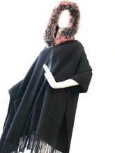 Load image into Gallery viewer, Black Cashmere Scarf with Fox Hood