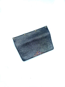 Interchangeable Flaps for Black Sweetchy Leather Handbag - Sparkle Black/Glitter
