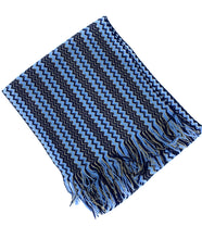 Load image into Gallery viewer, Blue Black & Gold Zig Zag Scarf