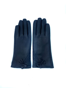 Leather Gloves with Bow Detail