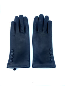 Leather Gloves with Side Button Detail