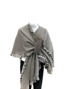 Grey Ruffle Wrap with Fox  Pull Loop