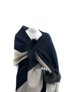 Black and Light Grey Wool Wrap with Pull Loop and Pom Poms