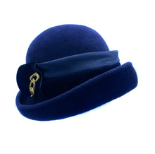 Load image into Gallery viewer, Royal Blue Rabbit Hat w/Satin and Gold Trim