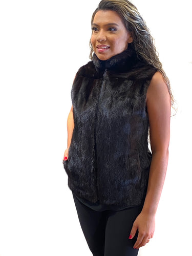 Ranch Mink vest with leather back