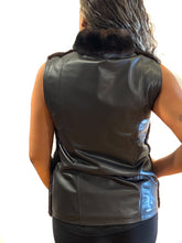 Load image into Gallery viewer, back of ranch mink vest with leather back