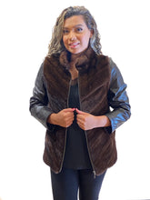 Load image into Gallery viewer, Mahogany Mink Jacket with Leather Back and zip-out Leather sleeves