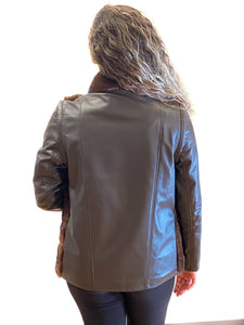 Mahogany Mink Jacket with Leather Back and zip-out Leather sleeves