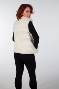 White Sheared Beaver Reversible Vest