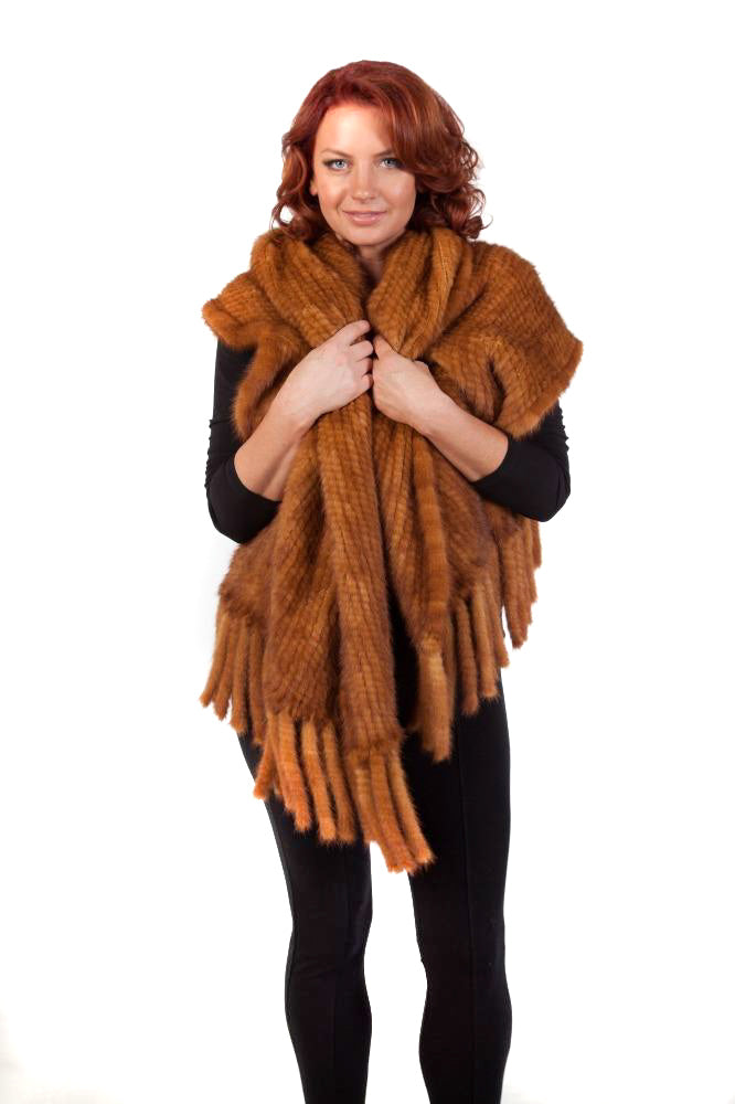 Knitted Whiskey Mink Shawl