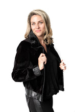 Load image into Gallery viewer, Black Sheared Chevron Mink Jacket w/ Leather Trim