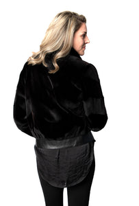 Black Sheared Chevron Mink Jacket w/ Leather Trim