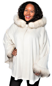 Ivory Cashmere/Wool/Fox Trim Cape with Hood