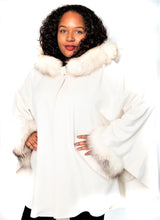 Load image into Gallery viewer, Ivory Cashmere/Wool/Fox Trim Cape with Hood