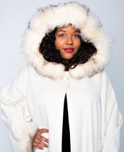 Load image into Gallery viewer, Front w/ Hood - Ivory Cashmere/Wool/Fox Trim Cape with Hood