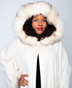 Front w/ Hood - Ivory Cashmere/Wool/Fox Trim Cape with Hood