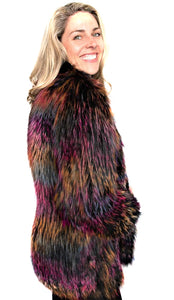 Multi Color Knitted Fox Jacket
