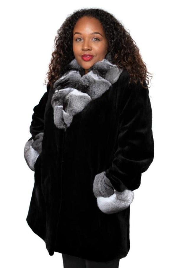 black sheared mink jacket with chinchilla collar and cuffs