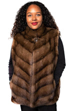 Load image into Gallery viewer, Front - Demi Buff Chevron Mink Vest