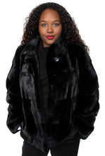 Load image into Gallery viewer, Black Horizontal Mink Jacket