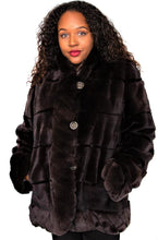 Load image into Gallery viewer, Brown Pluck Sheared Mink and Rex Reversible Jacket