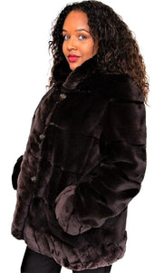 Brown Pluck Sheared Mink and Rex Reversible Jacket