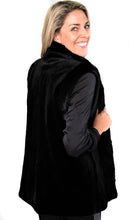 Load image into Gallery viewer, Black Sheared Mink Vest Reversible to Black Taffeta